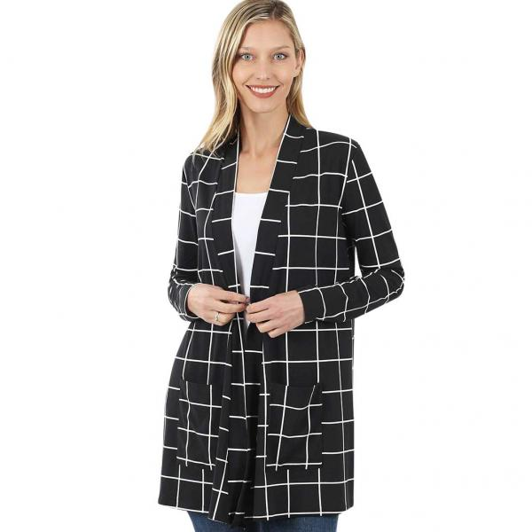 Wholesale Slouchy Pocket Open Cardigan Prints 320 and 900 BLACK/IVORY WINDOWPANE Slouchy Pocket Open Cardigan 9007 - Small