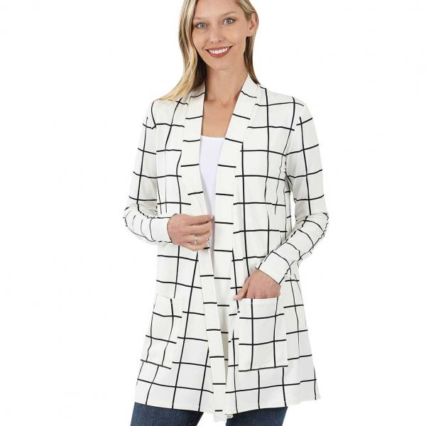 Wholesale Slouchy Pocket Open Cardigan Prints 320 and 900 IVORY/BLACK WINDOWPANE Slouchy Pocket Open Cardigan 9007 - Small