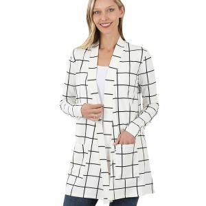 Wholesale  IVORY/BLACK WINDOWPANE Slouchy Pocket Open Cardigan 9007 - Large