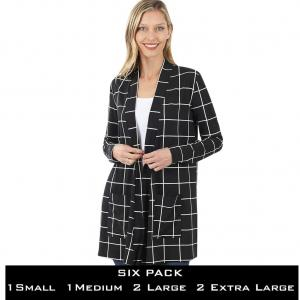 Wholesale   BLACK/IVORY WINDWPANE SIX PACK Slouchy Pocket Cardigan 9007 - 1 Small 1 Medium 2 Large 2 Extra Large