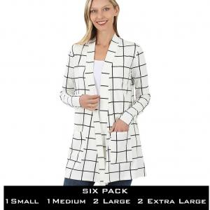 Wholesale  IVORY/BLACK WINDOWPANE SIX PACK Slouchy Pocket Cardigan 9007 - 1 Small 1 Medium 2 Large 2 Extra Large