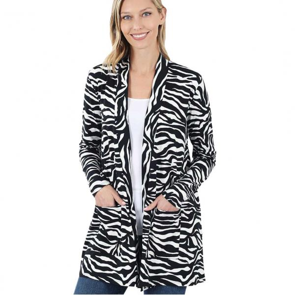 Wholesale Slouchy Pocket Open Cardigan Prints 320 and 900  ZEBRA PRINT SIX PACK Slouchy Pocket Open Cardigan 9006 (1S/1M/2L/2XL) - 1 Small 1 Medium 2 Large 2 Extra Large