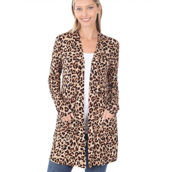 Wholesale Slouchy Pocket Open Cardigan Prints 320 and 900 LEOPARD TAN/BROWN Slouchy Pocket Open Cardigan 320 - Medium
