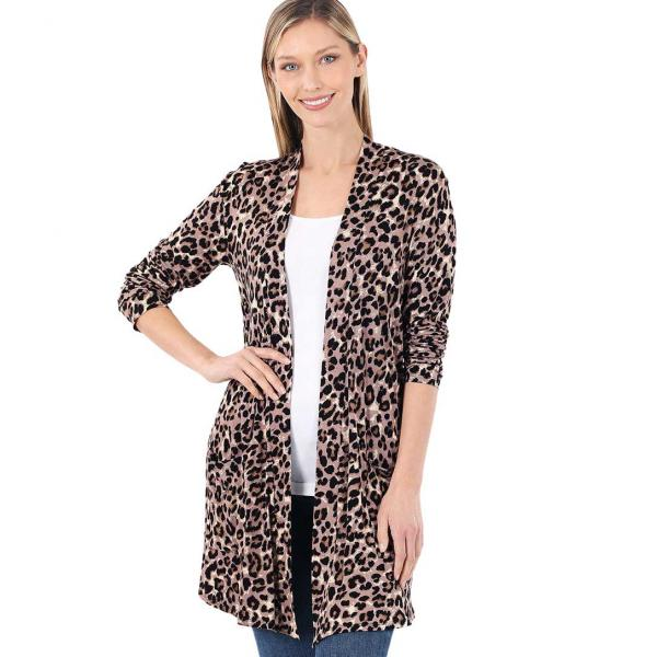 Wholesale Slouchy Pocket Open Cardigan Prints 320 and 900 LEOPARD TAN/MOCHA Slouchy Pocket Open Cardigan 320 - Medium