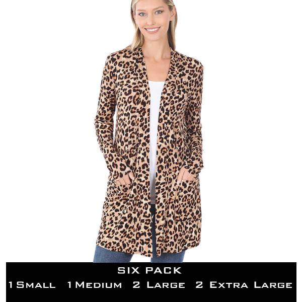 Wholesale Slouchy Pocket Open Cardigan Prints 320 and 900  LEOPARD TAN/BROWN SIX PACK Slouchy Pocket Open Cardigan 320(1S/1M/2L/2XL) - 1 Small 1 Medium 2 Large 2 Extra Large