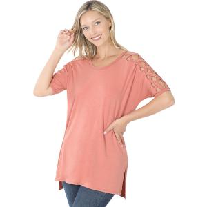 Wholesale  ASH ROSE Criss-Cross Shoulder Side Split Hi-Low 1781 - Medium
