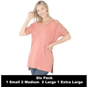 Wholesale   ASH ROSE SIX PACK Criss-Cross Shoulder Side Split Hi-Low 1781 (1S/2M/2L/1XL) - 1 Small, 2 Medium, 2 Large, 1 Extra Large