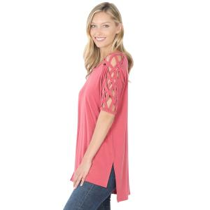 Wholesale  ROSE Criss-Cross Shoulder Side Split Hi-Low 1781 - Medium