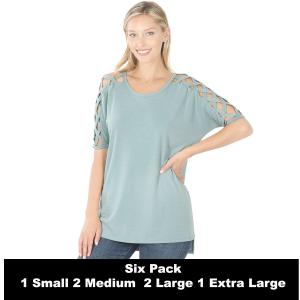 Wholesale   BLUE GREY SIX PACK Criss-Cross Shoulder Side Split Hi-Low 1781 (1S/2M/2L/1XL) - 1 Small, 2 Medium, 2 Large, 1 Extra Large