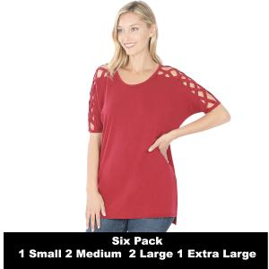 Wholesale   CABERNET SIX PACK Criss-Cross Shoulder Side Split Hi-Low 1781 (1S/2M/2L/1XL) - 1 Small, 2 Medium, 2 Large, 1 Extra Large