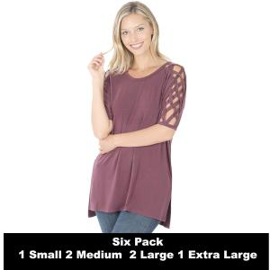 Wholesale   EGGPLANT SIX PACK Criss-Cross Shoulder Side Split Hi-Low 1781 (1S/2M/2L/1XL) - 1 Small, 2 Medium, 2 Large, 1 Extra Large