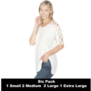 Wholesale   IVORY SIX PACK Criss-Cross Shoulder Side Split Hi-Low 1781 (1S/2M/2L/1XL) - 1 Small, 2 Medium, 2 Large, 1 Extra Large