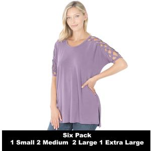 Wholesale   LILAC GREY SIX PACK Criss-Cross Shoulder Side Split Hi-Low 1781 (1S/2M/2L/1XL) - 1 Small, 2 Medium, 2 Large, 1 Extra Large