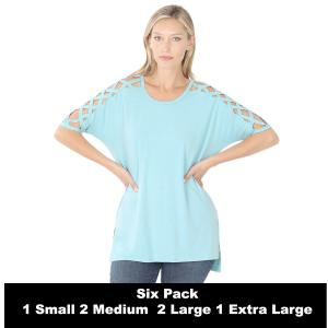 Wholesale   MILKY BLUE SIX PACK Criss-Cross Shoulder Side Split Hi-Low 1781 (1S/2M/2L/1XL) - 1 Small, 2 Medium, 2 Large, 1 Extra Large