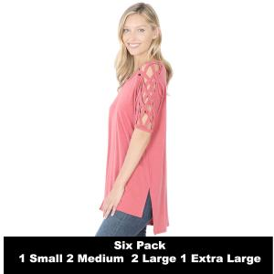 Wholesale   ROSE SIX PACK Criss-Cross Shoulder Side Split Hi-Low 1781 (1S/2M/2L/1XL) - 1 Small, 2 Medium, 2 Large, 1 Extra Large