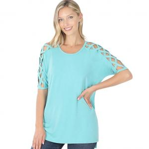 Wholesale  ASH MINT Criss-Cross Shoulder Side Split Hi-Low 1781 - Small