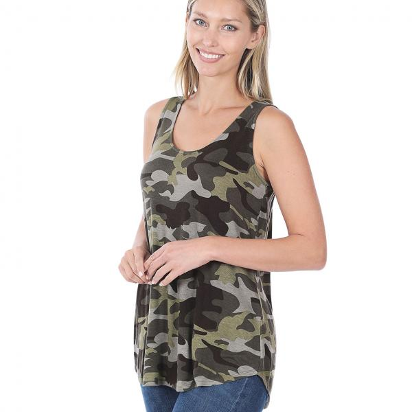 Wholesale Tops- Sleeveless Round Hem Prints 430 ARMY CAMO Sleeveless Round Hem Top 4308 - Large