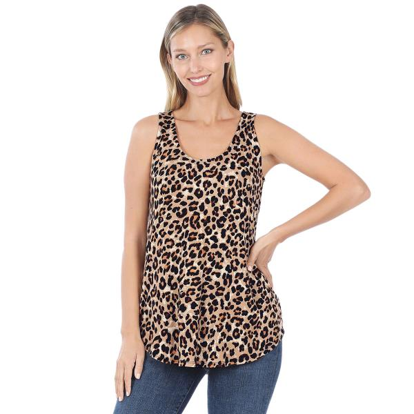 Wholesale Tops- Sleeveless Round Hem Prints 430 LEOPARD Sleeveless Round Hem Top 4308 - Large