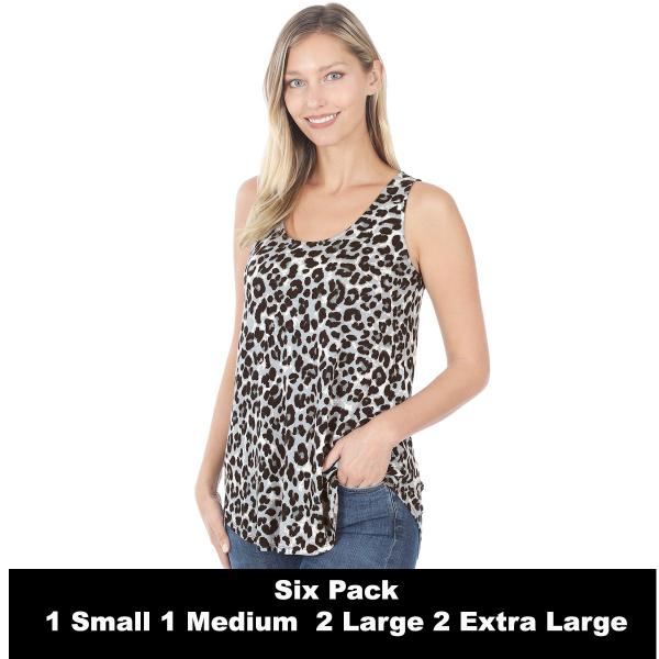 Wholesale Tops- Sleeveless Round Hem Prints 430  GREY LEOPARD SIX PACK Sleeveless Round Hem Top 4308 - 1 Small 1 Medium 2 Large 2 Extra Large