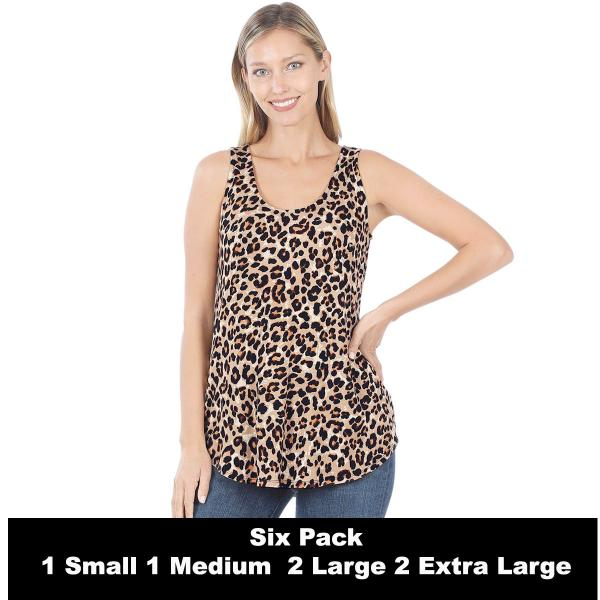 Wholesale Tops- Sleeveless Round Hem Prints 430  LEOPARD SIX PACK Sleeveless Round Hem Top 4308 - 1 Small 1 Medium 2 Large 2 Extra Large