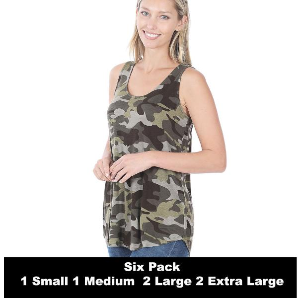 Wholesale Tops- Sleeveless Round Hem Prints 430  ARMY CAMO SIX PACK Sleeveless Round Hem Top 4308 - 1 Small 1 Medium 2 Large 2 Extra Large