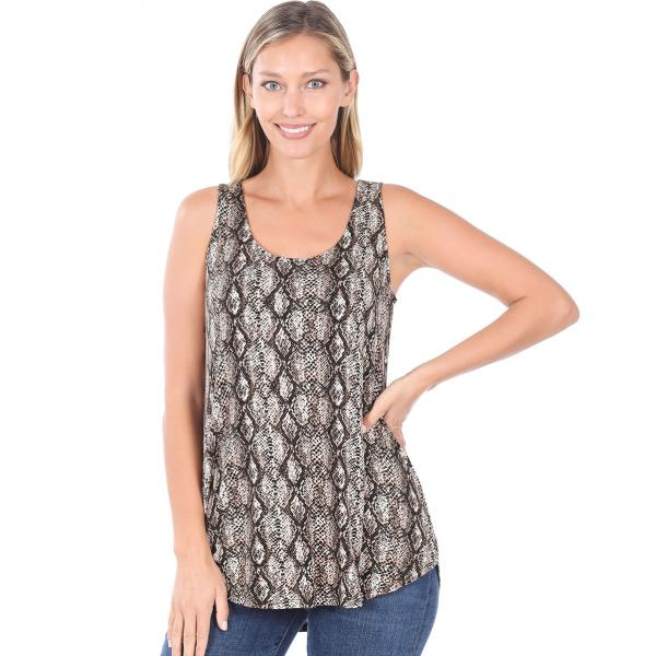 Wholesale Tops- Sleeveless Round Hem Prints 430 SNAKESKIN BROWN Sleeveless Round Hem Top 4308 - Large