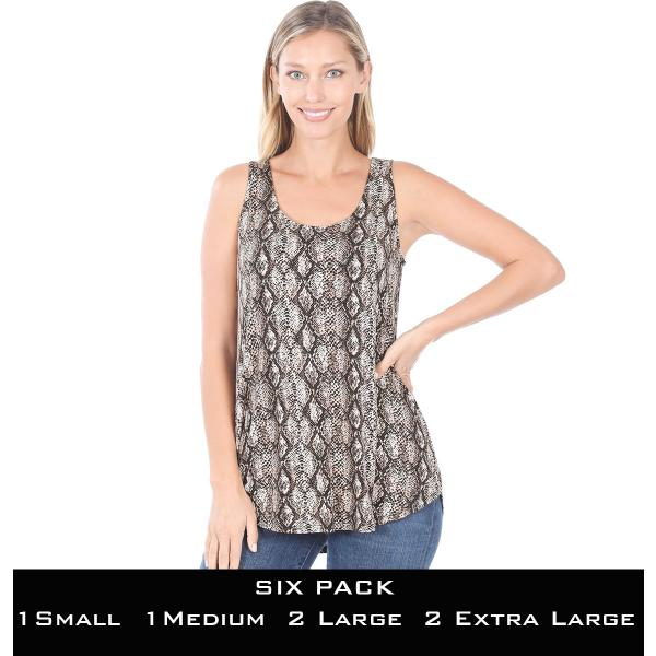 Wholesale Tops- Sleeveless Round Hem Prints 430  SNAKESKIN BROWN SIX PACK Sleeveless Round Hem Top 4308 - 1 Small 1 Medium 2 Large 2 Extra Large
