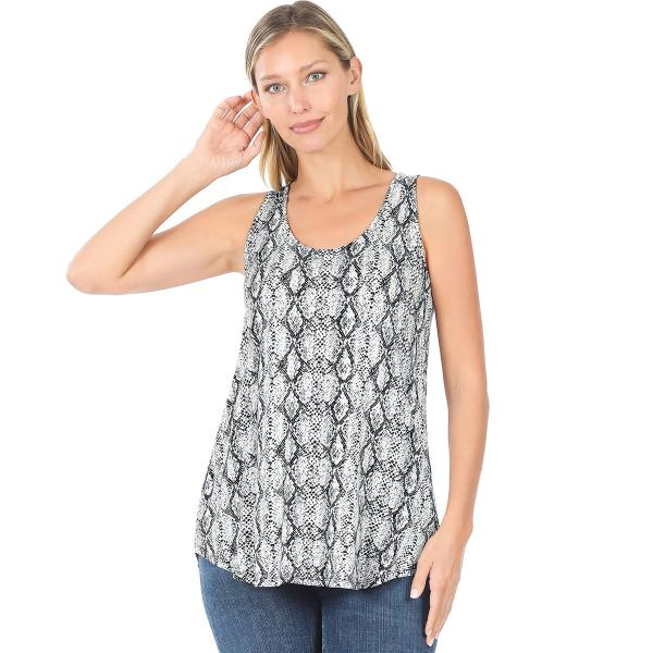 Wholesale Tops- Sleeveless Round Hem Prints 430 SNAKESKIN BLACK Sleeveless Round Hem Top 4308 - Small