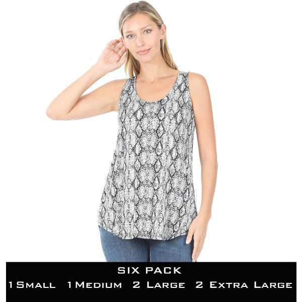 Wholesale Tops- Sleeveless Round Hem Prints 430  SNAKESKIN BLACK SIX PACK Sleeveless Round Hem Top 4308 - 1 Small 1 Medium 2 Large 2 Extra Large