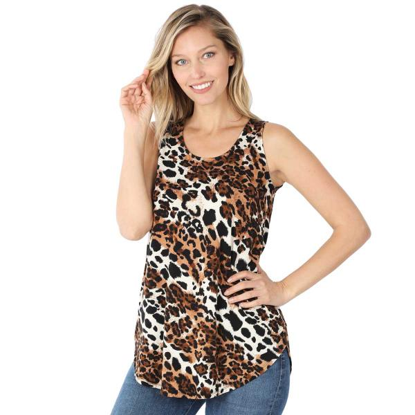 Wholesale Tops- Sleeveless Round Hem Prints 430 MIXED LEOPARD Sleeveless Round Hem Top 4308 - Large