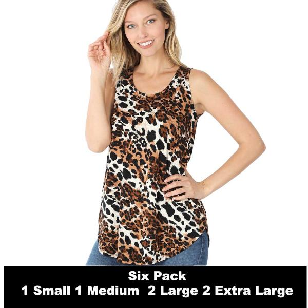 Wholesale Tops- Sleeveless Round Hem Prints 430  MIXED LEOPARD SIX PACK Sleeveless Round Hem Top 4308 - 1 Small 1 Medium 2 Large 2 Extra Large