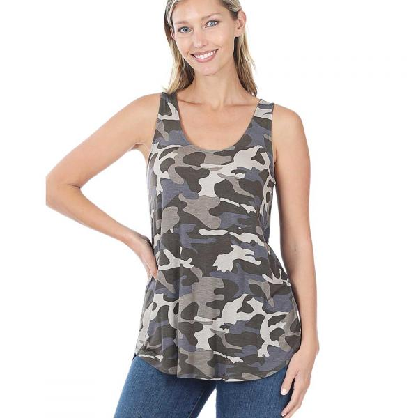 Wholesale Tops- Sleeveless Round Hem Prints 430 DUSTY CAMO Sleeveless Round Hem Top 4308 - Medium