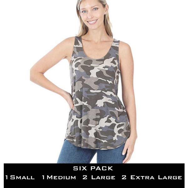 Wholesale Tops- Sleeveless Round Hem Prints 430  DUSTY CAMO SIX PACK Sleeveless Round Hem Top 4308 - 1 Small 1 Medium 2 Large 2 Extra Large
