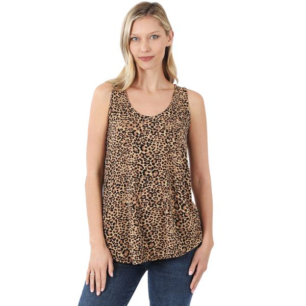 Wholesale Tops- Sleeveless Round Hem Prints 430 CAMEL LEOPARD Sleeveless Round Hem Top 43028 - Large