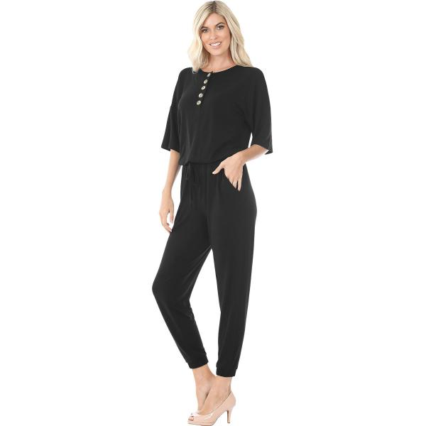Wholesale Half Sleeve Jogger Jumpsuit 43056 BLACK Half Sleeve Jogger Jumpsuit 43056  - Small