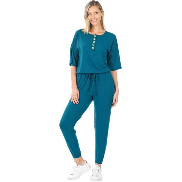 Wholesale Half Sleeve Jogger Jumpsuit 43056 TEAL Half Sleeve Jogger Jumpsuit 43056  - Small