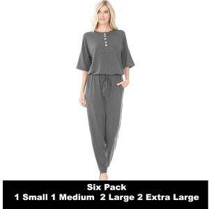 Wholesale   ASH GREY SIX PACK Half Sleeve Jogger Jumpsuit 43056  - 1 Small 1 Medium 2 Large 2 Extra Large