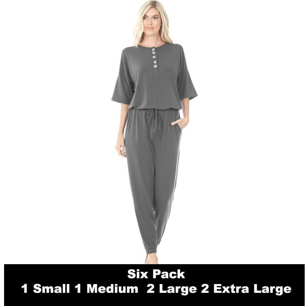 Wholesale Half Sleeve Jogger Jumpsuit 43056  ASH GREY SIX PACK Half Sleeve Jogger Jumpsuit 43056  - 1 Small 1 Medium 2 Large 2 Extra Large