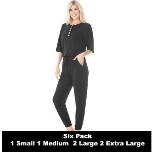 Wholesale   BLACK SIX PACK Half Sleeve Jogger Jumpsuit 43056  - 1 Small 1 Medium 2 Large 2 Extra Large