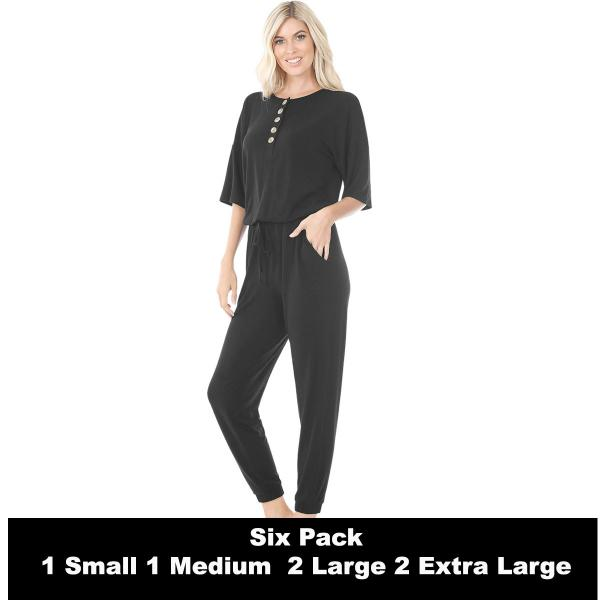 Wholesale Half Sleeve Jogger Jumpsuit 43056  BLACK SIX PACK Half Sleeve Jogger Jumpsuit 43056  - 1 Small 1 Medium 2 Large 2 Extra Large