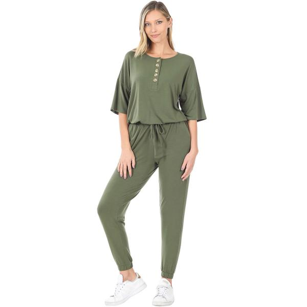 Wholesale Half Sleeve Jogger Jumpsuit 43056 LIGHT OLIVE Half Sleeve Jogger Jumpsuit 43056  - Large
