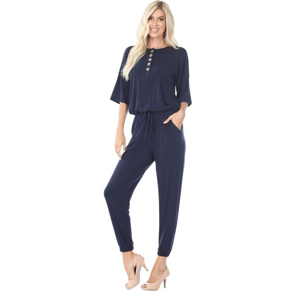 Wholesale Half Sleeve Jogger Jumpsuit 43056 NAVY Half Sleeve Jogger Jumpsuit 43056  - Large