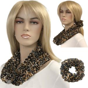 Wholesale  LEOPARD Set - Magnetic Clasp Bubble Satin Scarf/Scrunchie -