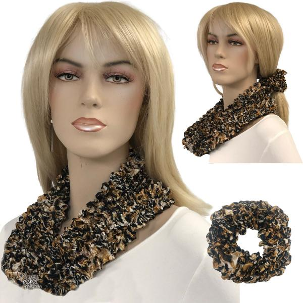 Wholesale Set - Magnetic Clasp Bubble Satin Scarf/Scrunchie LEOPARD Set - Magnetic Clasp Bubble Satin Scarf/Scrunchie -