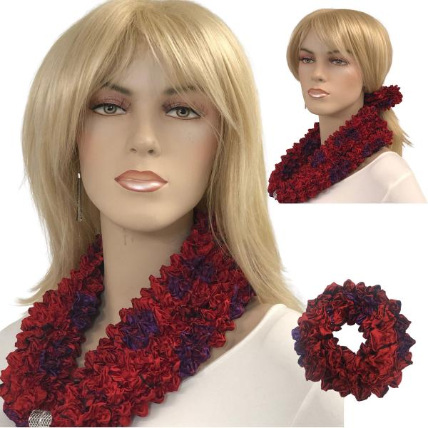 Wholesale Set - Magnetic Clasp Bubble Satin Scarf/Scrunchie RED GARDEN Set - Magnetic Clasp Bubble Satin Scarf/Scrunchie -