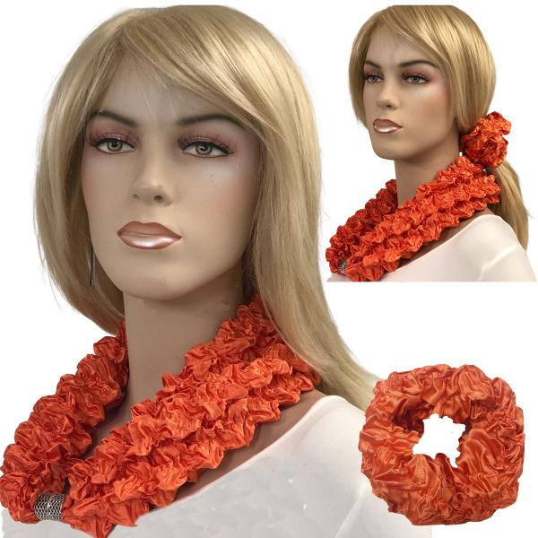 Wholesale Set - Magnetic Clasp Bubble Satin Scarf/Scrunchie ORANGE Set - Magnetic Clasp Bubble Satin Scarf/Scrunchie -