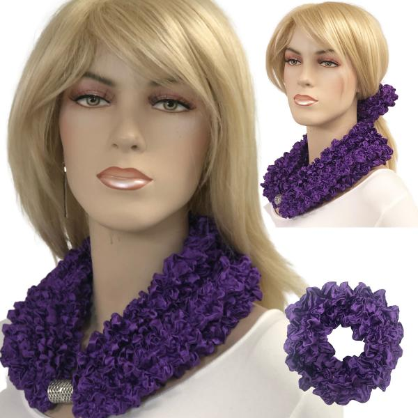 Wholesale Set - Magnetic Clasp Bubble Satin Scarf/Scrunchie GRAPE Set - Magnetic Clasp Bubble Satin Scarf/Scrunchie -