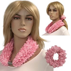 Wholesale  CARNATION Set - Magnetic Clasp Bubble Satin Scarf/Scrunchie -