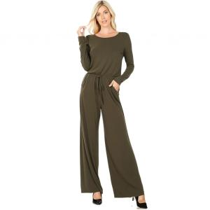 Wholesale  DARK OLIVE Jumpsuit - Back Keyhole Opening 3116 - Small