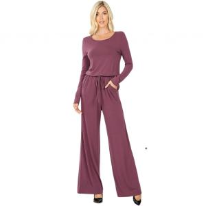 Wholesale  EGGPLANT Jumpsuit - Back Keyhole Opening 3116 - Large